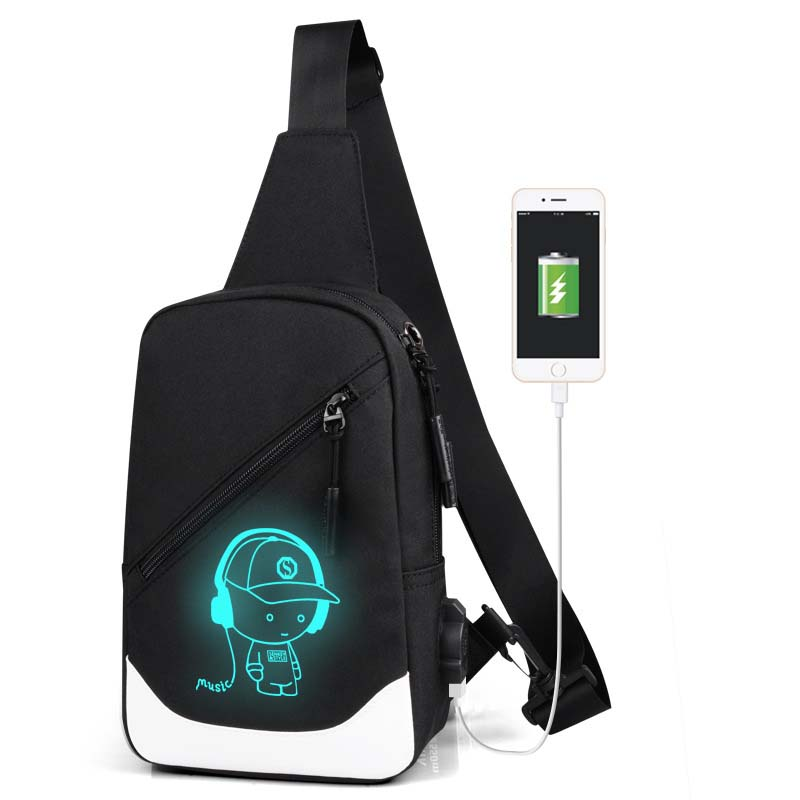 USB Charge Crossbody Bags for Men Messenger Chest Bag Young Student Pack Casual Bag Waterproof Oxford Single Shoulder Strap Pack