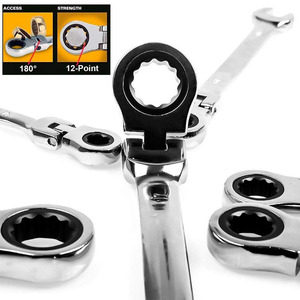 Image 2 - Flexible Ratchet Action Wrench Spanner Nut Tool Head Ratchet Metric Spanner Open End and Ring Wrenches Tool Size 8mm 13mm