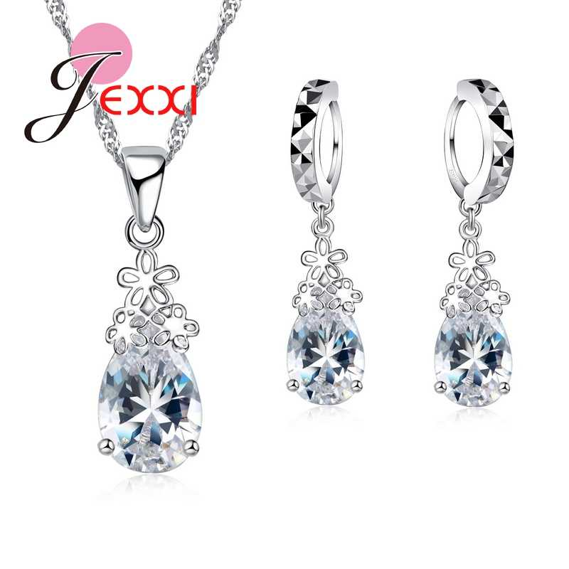 Fashion 925 Sterling Silver Water Drop Clear Crystal Necklace Earrings Set Women Female Wedding Engagement Jewelry Set Gift