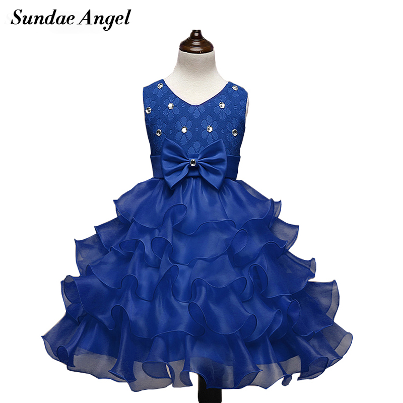 Sundae Angel Baby Girl Dress Sleeveless Grew Neck Lace Bowknot Mesh Design Baby Girl Dresses Party