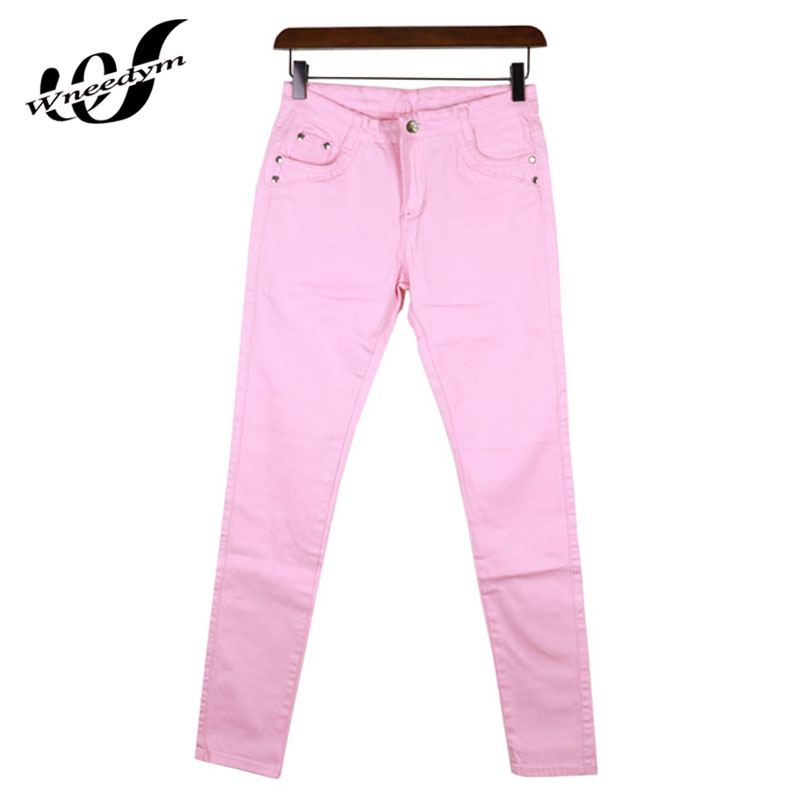 WNEEDYM Favourite Pink Elastic Denim Trousers Comfortable Casual Jeans High  Waist Female Cotton Skinny Pencil Pants Slim LNZ17 - Compare Prices On Light Pink Skinny Jeans- Online Shopping/Buy Low