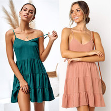 цена Summer hot new sling female dress loose pleated ladies dress casual women's dress openwork stitching female dress онлайн в 2017 году
