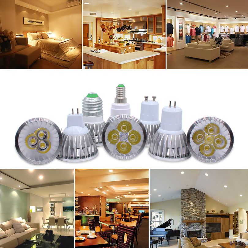 E27 e14 Светодиодный светильник с регулируемой яркостью, MR16 DC12V светодиодный 9 Вт, 12 Вт, 15 Вт, GU10 светодиодный лампы Точечный светильник высокого Мощность gu 10 Светодиодный светильник белый Светодиодный точечный светильник