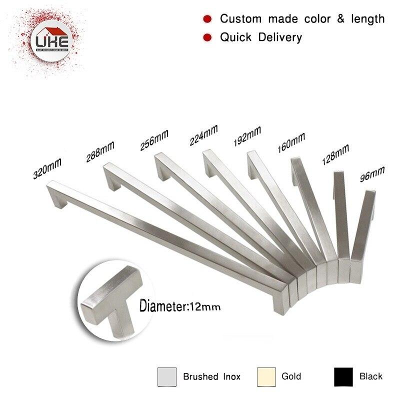 UKE Square Bar Handle Stainless Steel Hole Space 96mm~320mm Cabinet Door Knob Furniture Hardware Drawer Pulls Wardrobe Hardware