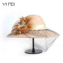 Mujeres negro Vintage ala ancha Sombreros de fieltro Cloche Fedora elegante  velo sombrero señora Iglesia Sombreros invierno 100%. d1692c0fd75
