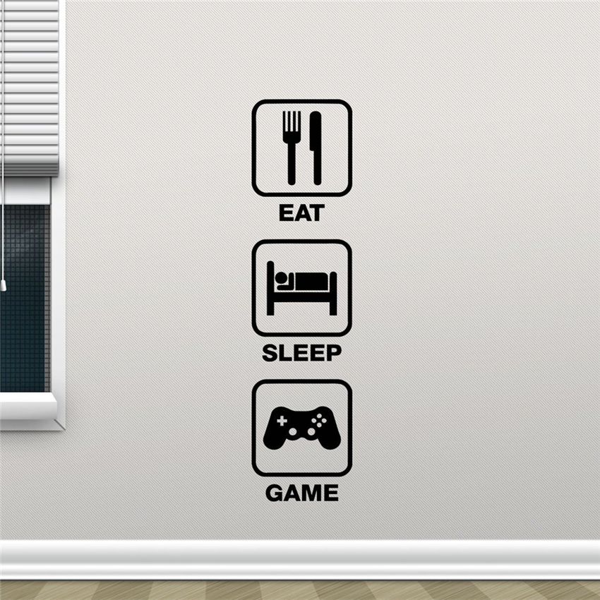 Eat Sleep Game Quote Wall Decal Vinyl Sticker College Office Kids Living Room Decor Nursery Wall Art Design Wall stickers M851