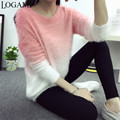 Gradient Mohair Sweater Pullover Women Jumper Womens Sweaters Fashion 2016 Autumn Winter Knitting Pullovers Pull Femme