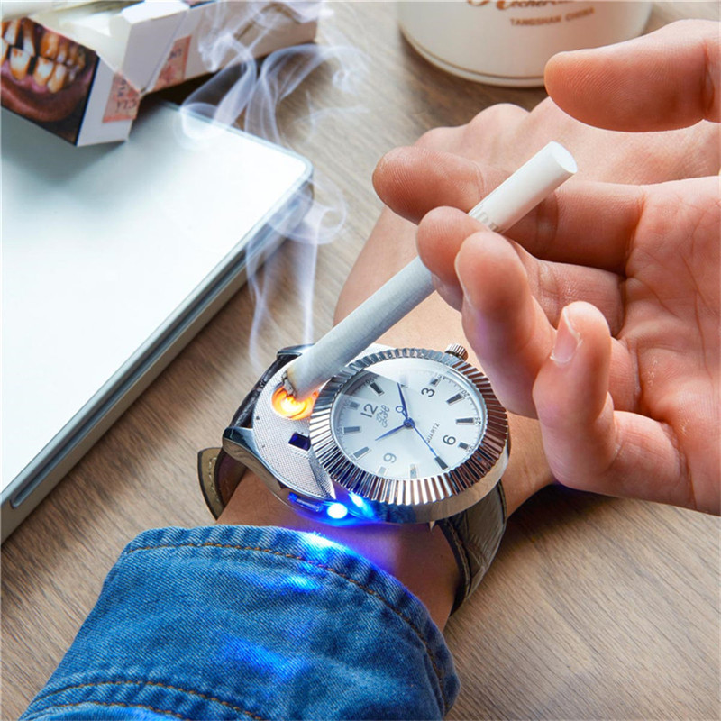 цена на Military Men Watch Lighter Rechargeable Flameless Electronic Cigarette Lighters USB Charging Windproof Smokeless No Gas Gift PJ