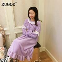 RUGOD Fashoin Round Neck Women Pyjamas Dress Solid Ruffles Women Sleepwear Winter Mid Calf Oversize Women Nightgown