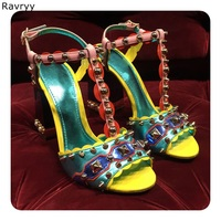 Summer Mixed color Woman sandals golden rivet white pearl decor open toe high heels Sexy Pumps thick heel female party shoes