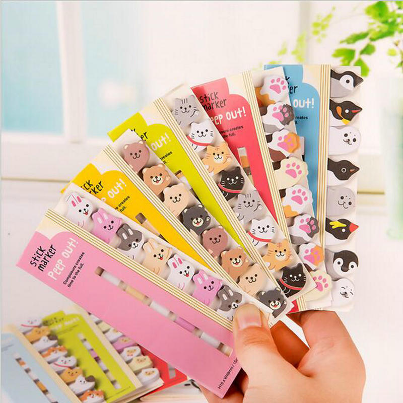 120pcs/Set Kawaii Cartoon Animal Bookmark Book Sticker Marker School Office Stationery Best Birthday Gift
