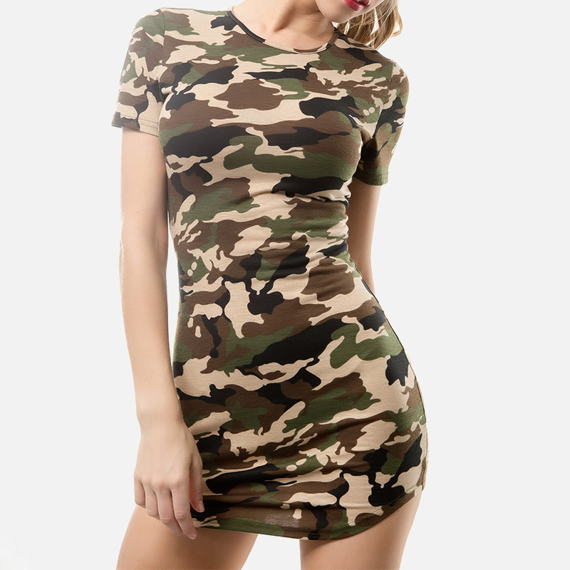 Sexy Camouflage Print Short Sleeve Women's Dress O neck ...