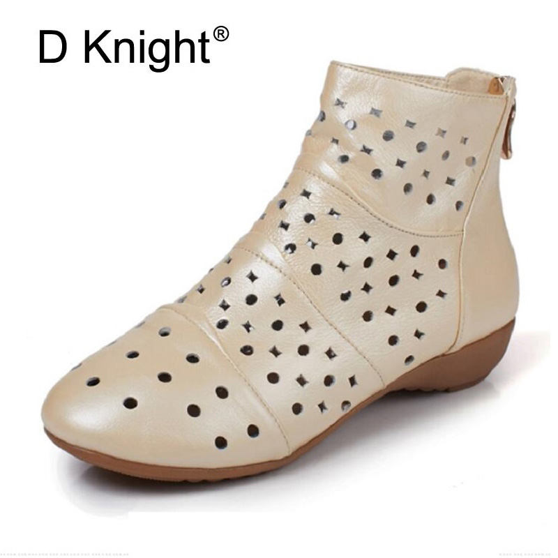 Plus Size Women's Summer Boots Low Heels Zipper Cut-outs Ankle Boots Ladies Dress Casual Shoes Genuine Leather Motorcycle Boots купить дешево онлайн