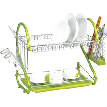 iron 2 Tiers Kitchen Dish Cup Drying Rack Drainer (Color:green)