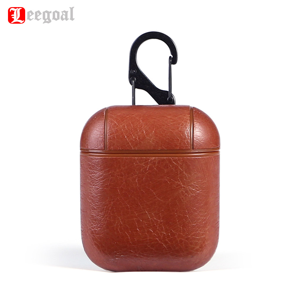 Leegoal Leather Protective Case Holder Cradle For Apple AirPods Wireless Earphone Creative Design Charging Cases with Hook цена