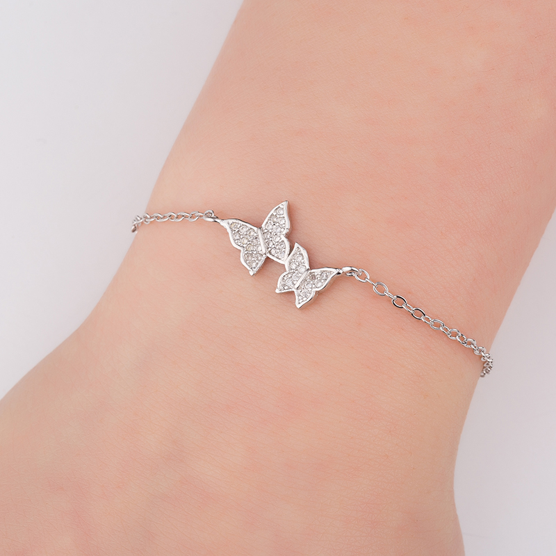 Hfarich Bracelet Elegant Simple Crystal Butterfly Bracelet Bangle For Women Chain Jewelry Gold Rose color Dropshipping 10