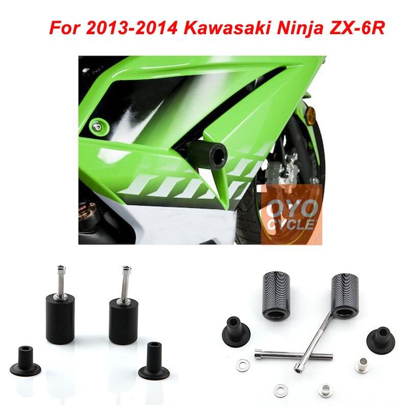 For 2013-2014 Kawasaki Ninja ZX6R ZX-6R No Cut Frame Slider Pad 2013 2014 03 04 Delrin Crash Falling Protection Pad