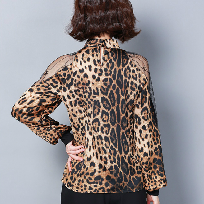HTB1dBJPbEzrK1RjSspmq6AOdFXav - Fashion womens tops and blouses sexy lace off shoulder top Leopard print chiffon blouse shirt long sleeve women shirts 2656 50