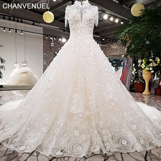 LS98410 newest bridal gown tassel crystals high neck 3D flowers lace ...