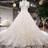 LS98410 più nuovo abito da sposa nappa cristalli collo alto 3D fiori di pizzo fuori da colore bianco formato OEM con fiocco sul retro abito da sposa 2018 di disegno