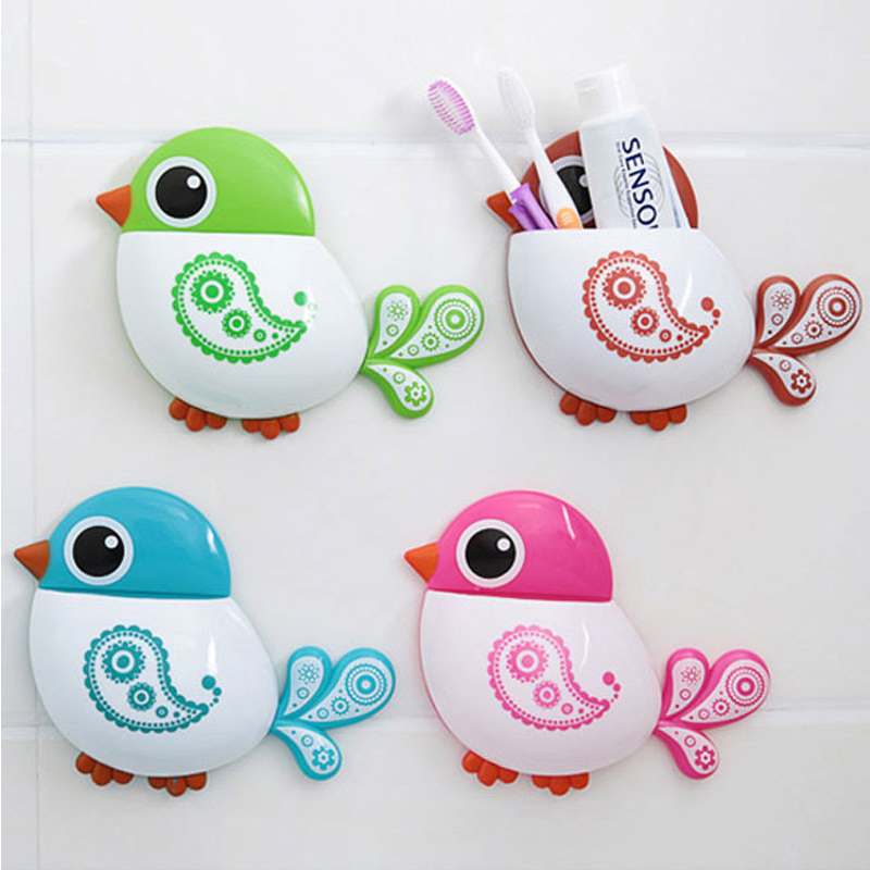 1PCS Cartoon Birds Toothbrush Holder Cute Creative Wall Hanging Powerful Suction Cup Toothbrush Shelf Bathroom Storage Organizer image