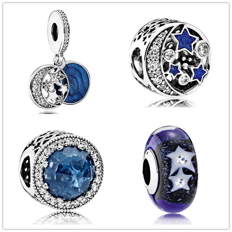 100% Real 925 Sterling Silver Moon Star Bright Night Sky Charm Beads Fit Original Pandora Bracelet Authentic Jewelry Gift charm moon 2015 100