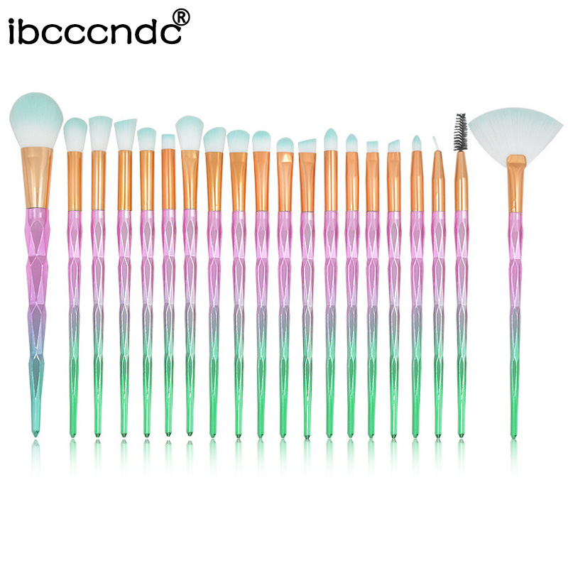 Make-Up-Brush Rainbow-Color Concealer Foundation Blush-Powder Eyeshadow 20pcs/Set