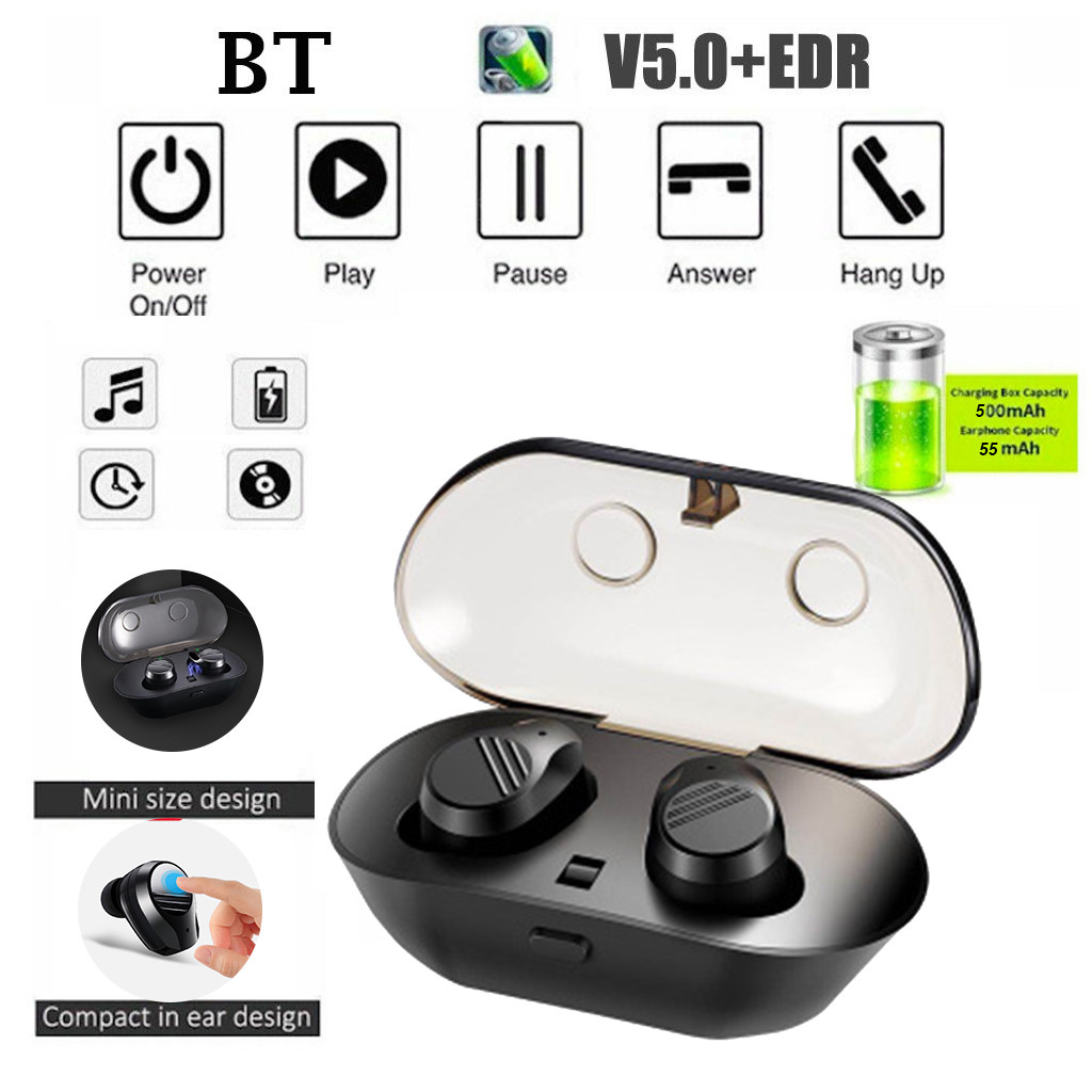 Blueteeth TWS5.0 Sports Headset Wireless Mini Earbuds Stereo Waterproof Earphone