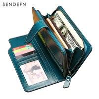 Sendefn 2018 New Arrivals Fashion Long Women Wallets Female Split Leather Wallet Women Ladies Purse Zipper