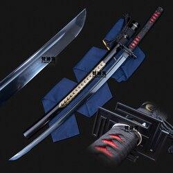Handgemachte carbon stahl japanischen samurai Katana schwert full tang geschärft Neue Schwarz Klinge Japanischen Samurai Katana
