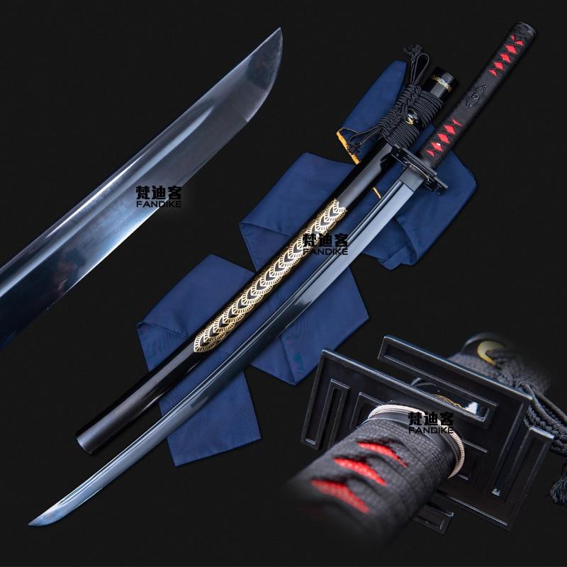 Handmade Carbon Steel Japanese Samurai Katana Sword Full Tang Sharpened New Black Blade Japanese Samurai Katana