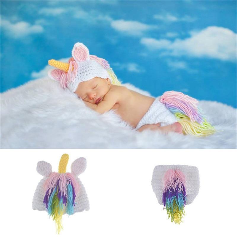 New Crochet Unicorn Newborn Photo Props Knitted Baby Hat And Diaper Set Infant Girls Cartoon Costume For Photo Shoot Fotografia