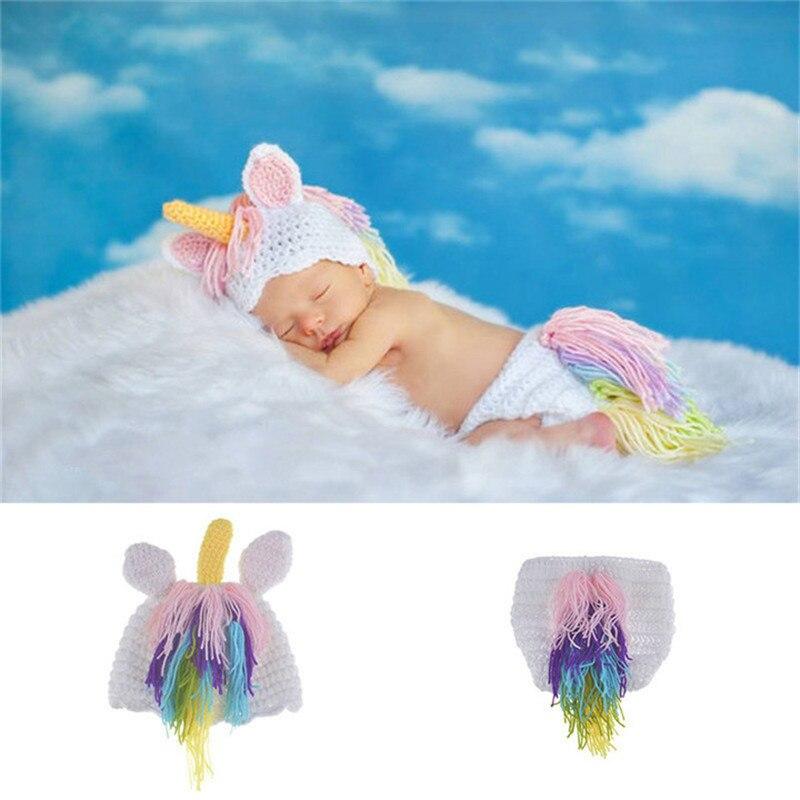 Nova crochê unicórnio recém-nascido foto adereços de malha chapéu do bebê e conjunto fralda infantil meninas dos desenhos animados traje para foto shoot fotografia