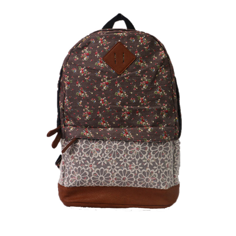Lace small fresh floral backpack college wind student bag backpack Unisex Fashionable Canvas Backpack School Bag Canvas backpackLace small fresh floral backpack college wind student bag backpack Unisex Fashionable Canvas Backpack School Bag Canvas backpack