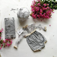 Jane Z Ann Newborn Photography Outfit Baby lace pillow Set Infant Photo shoot Props Newborn Photo Clothes baby shower gift