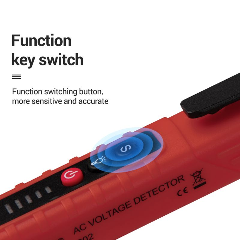 VD802 Non-contact AC Voltage Detector Tester Meter 12V-1000v Pen Style Electric Indicator LED Outlet AC Induction Voltage Dectet