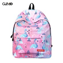 Ou Mo brand Cartoon Flamingo laptop man backpack Women computer bag anti theft school Bag teenagers travel Backpack