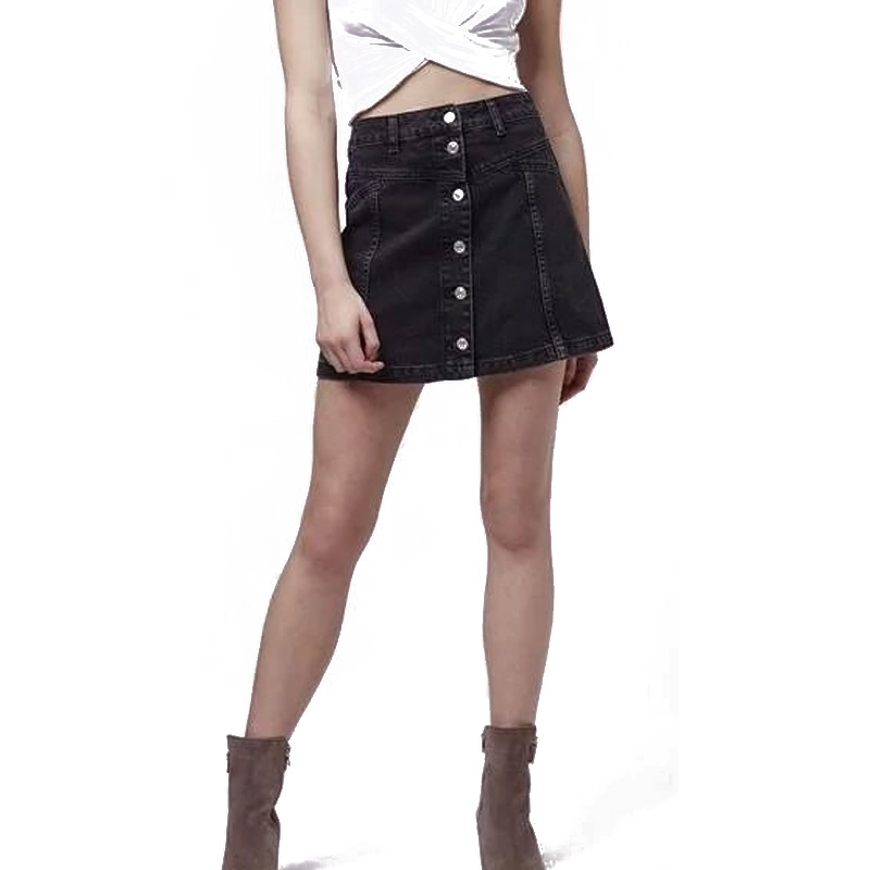 donna 2017 summer high waisted black denim skirt
