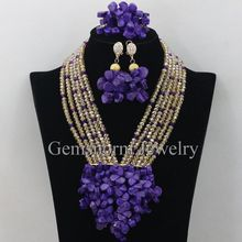 Champagne Gold Crystal Chunky Bib Statement Necklace Set Purple Coral Beads Wedding Jewelry Set Free Shipping CNR333