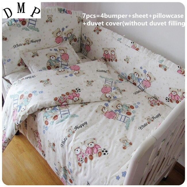 Promotion! 6/7PCS baby bedding set baby bed linen cartoon Comforter cot quilt cover ,120*60/120*70cm