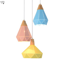 Nordic Colorful Led E27 Modern Diamond Pendant Lights Fixtures Dining Room Hanging Lamp for Kitchen Home Decor Shade Luminaire стоимость