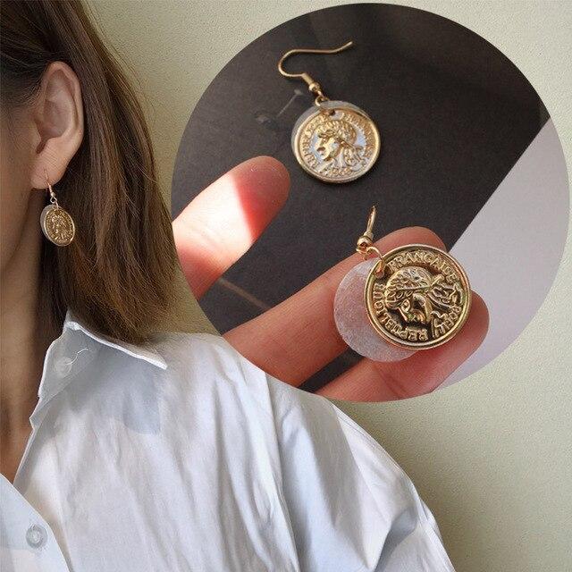2018 Simple fait à la main pièces d'or naturel coquille ronde géométrique goutte boucles d'oreilles Vintage richesse en relief boucles d'oreilles pour femmes bijoux