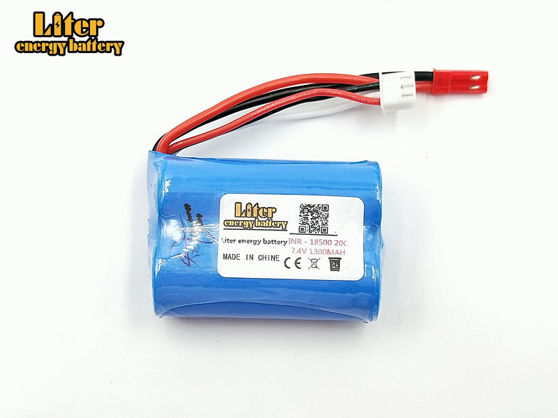Lipo Batttery 7.4V 1300mAH 20C For MJX T10 T11 T34 HQ 827 871 Remote control helicopter <font><b>battery</b></font> 7.4 V 1300 mAH <font><b>18500</b></font> toy <font><b>battery</b></font> image