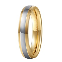 Hot Sale 4MM Pure Titanium Wedding Rings With 18K Gold Plated For Women Jewelry Comfort Fit