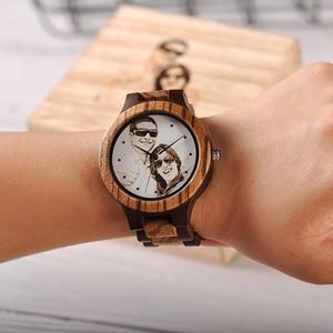 Image 4 - לוגו מותאם אישית הדפסת תמונה משלך גברים שעון ייחודי במבוק עץ שעוני יד מתנה יצירתית לאוהבים או משפחות