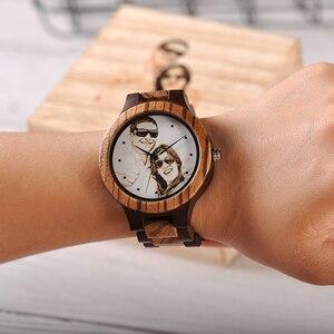 Image 4 - Özel LOGO baskı kendi fotoğraf erkek izle benzersiz bambu ahşap kol saati severler için yaratıcı hediye veya aileler