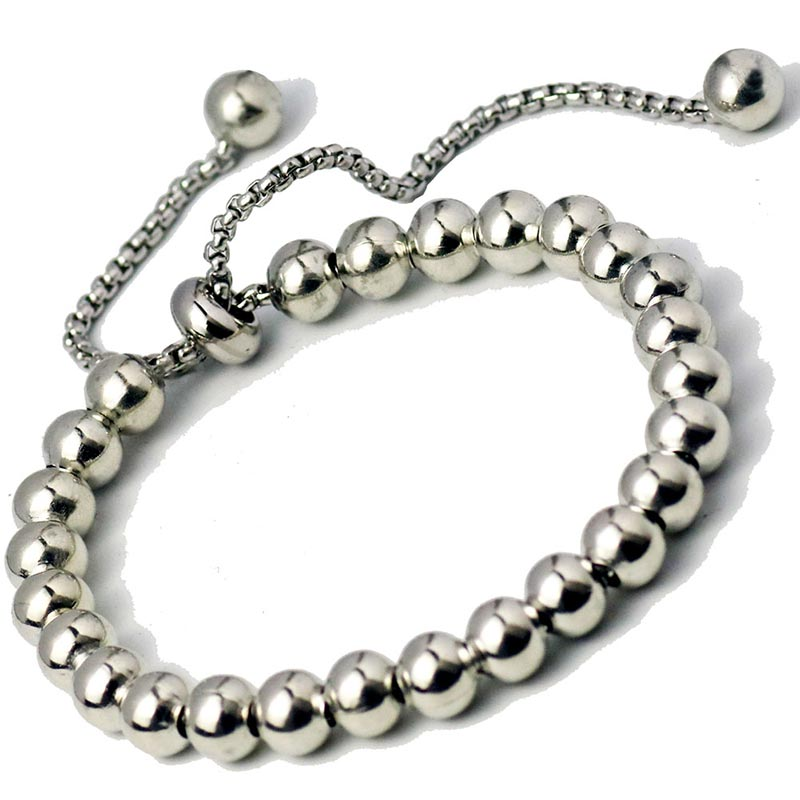Adjustable Stainless Steel Ball Beads Chain Bracelets Round Stainless Steel Men Box Chain Bracelet Classic Sports Hiphop Jewelry