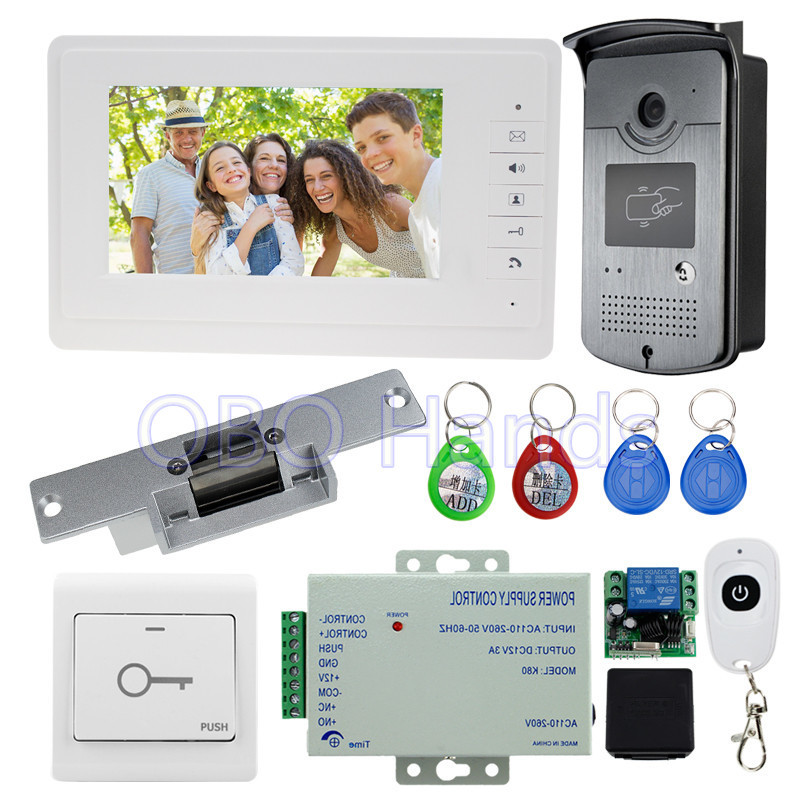 7'' wired video door phone intercom system kit set with RFID IR outdoor camera video doorbell+EM lock+power+door switch cheap 7 wired color video door phone intercom doorbell system kit set with outdoor ir camera white monitor electric control lock