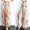 Bazaleas 2017 Summer Beach Long Pants Sexy Side Split Wide Leg Pants Women Boho Elastic Middle Waist Causual Pants