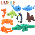 UMEILE Duplo Marine Ocean Animal Series Large Particle Building Blocks Whale/Shark/Penguin/Crocodile Kids Kids Baby Bath Toys